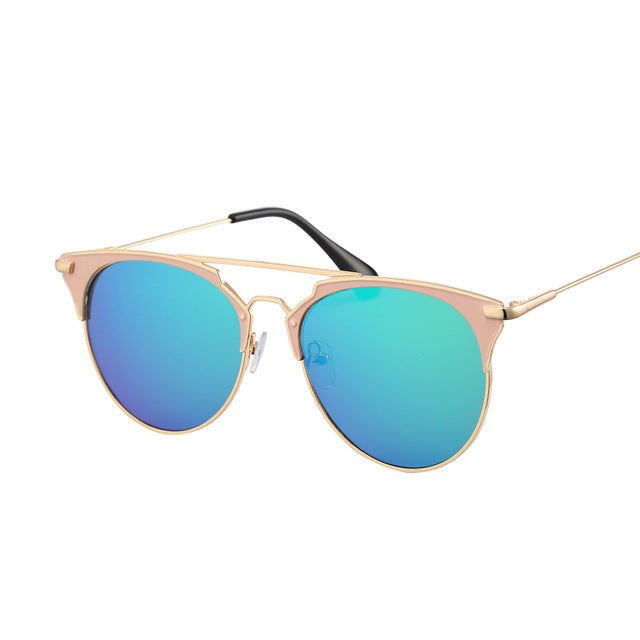 Retro Mirror Cat Eye Sunglasses Women Brand Designer Luxury Metal Frame Sun Glasses Female Ladies Oculos Lunette De Soleil Sol - Zamavi.com