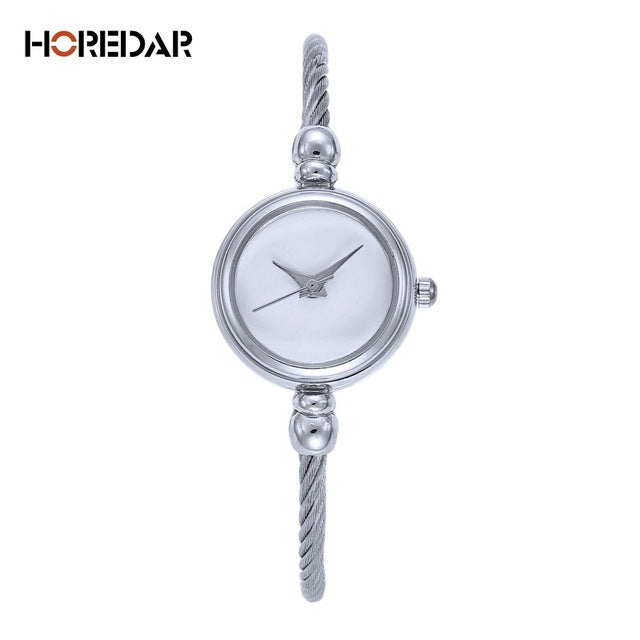 HOREDAR Vintage Women Watch Luxury Gold Bracelet Watches Women High Quality Retro Silver Stainless Steel Wristwatch Hot Clock - Zamavi.com