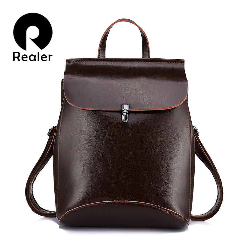 REALER women backpack split leather backpack school bag for girls teenagers vintage backpack large travel female shoulder bag - Zamavi.com