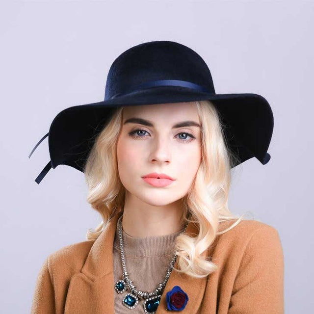 Fibonacci High Quality Women Wool Brushed Felt Fedora Hat 10cm Big Brim Solid Color Elegant Dome Fedoras - Zamavi.com