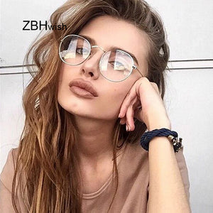 Fashion Retro Women Glasses Frame Men Eyeglasses Frame Vintage Round Clear Lens Transparent Sun Glasses Frame Women - Zamavi.com