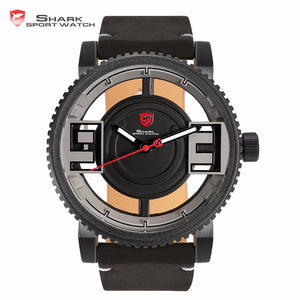Megamouth Shark Sport Watch New Transparent Hollow Face Gearwheel Bezel Leather Band Quartz Men Male Outdoor Watches Gift /SH545 - Zamavi.com