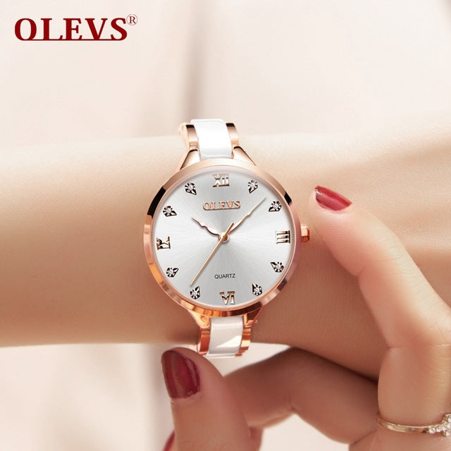 OLEVS Women Watches Luxury Rose Gold Fashion Crystal waterproof Ceramics Dress Diamonds ladies watch Wristwatch High quality NEW - Zamavi.com