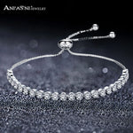 ANFASNI Tennis Adjustable Charm Bracelets & Bangles With Cubic Zirconia Silver Color For Woman Jewelry Gift Pulseras Mujer - Zamavi.com