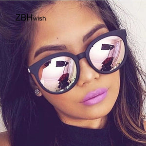 Cat Eye Pink Sunglasses Women Shades Mirror Square Sunglasses Female Luxury Coating Fashion Brand Cateye Glasses Oculos De Sol - Zamavi.com