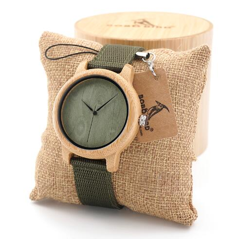 BOBO BIRD Mens Natural Wood Bamboo  Watches Womens Vintage Wooden Watch With Green Dial Nylon Strap  in wood box custom logo - Zamavi.com