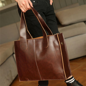 Men's crazy horse pu leather briefcases male fashion brown business shoulder bags large handbag messenger bag work file bag - Zamavi.com