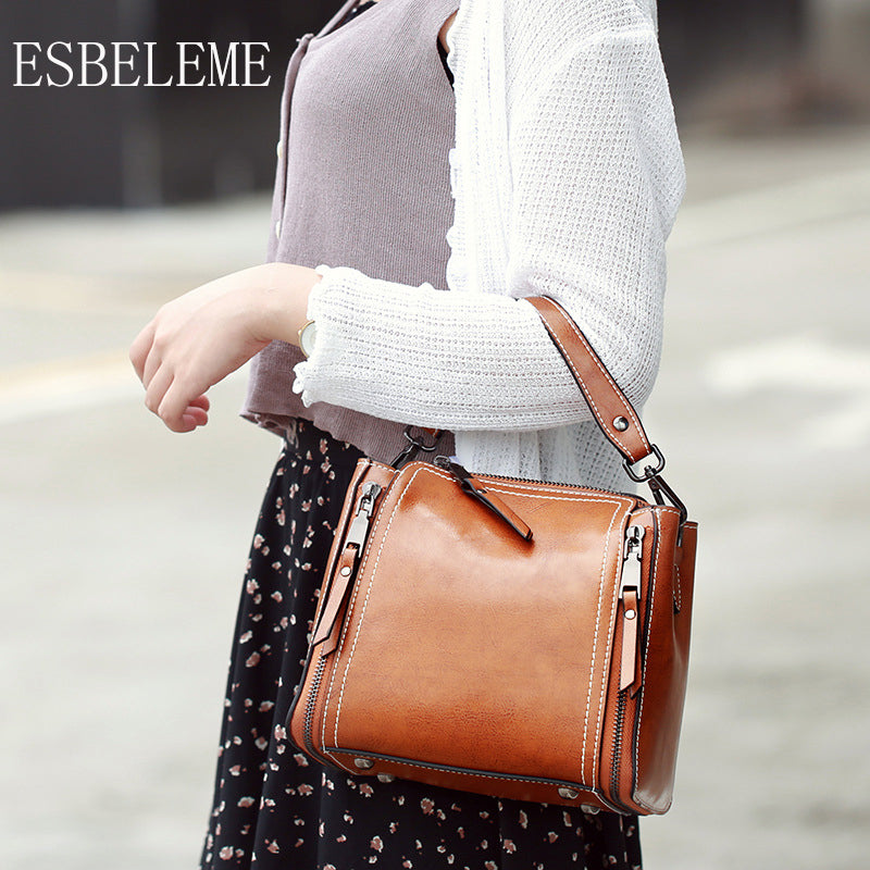 ESBELEME Genuine Leather Women Handbags for Female Single Shoulder Bags Burgundy Brown Black Cow Leather Motorcycle Bag YG167 - Zamavi.com