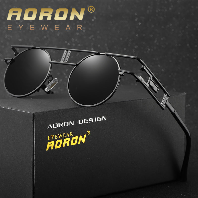 AORON Round Men Polarized Sunglasses Women Vintage Hipster Steam Punk Circle Metal Glasses Luxury Brand Coating Eyewear Oculos