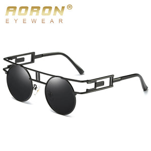 AORON Round Men Polarized Sunglasses Women Vintage Hipster Steam Punk Circle Metal Glasses Luxury Brand Coating Eyewear Oculos - Zamavi.com