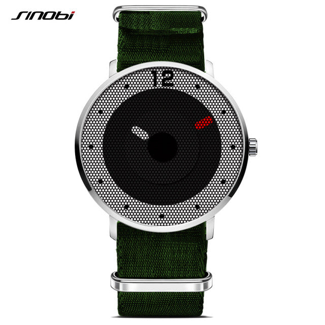 SINOBI Sport Watch Men Saat Army Green Nylon Band Watches Top Luxury Brand Male Geneva Quartz Clock Waterproof Relogio Masculino - Zamavi.com