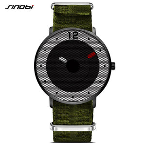New SINOBI Sports Men's Wrist Watch Army Green Varied Nylon Watchband Top Luxury Brand Male Geneva Quartz Clock Boys Wristwatch - Zamavi.com