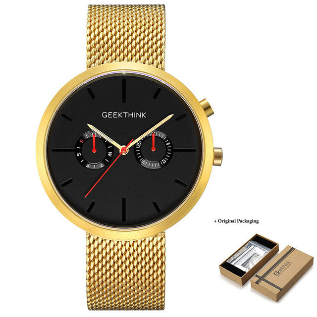 GEEKTHINK Cool Black Men Watches High Quality Stainless Steel Quartz Watch Functional Male Luxury Brand Wristwatch Sport Clock - Zamavi.com
