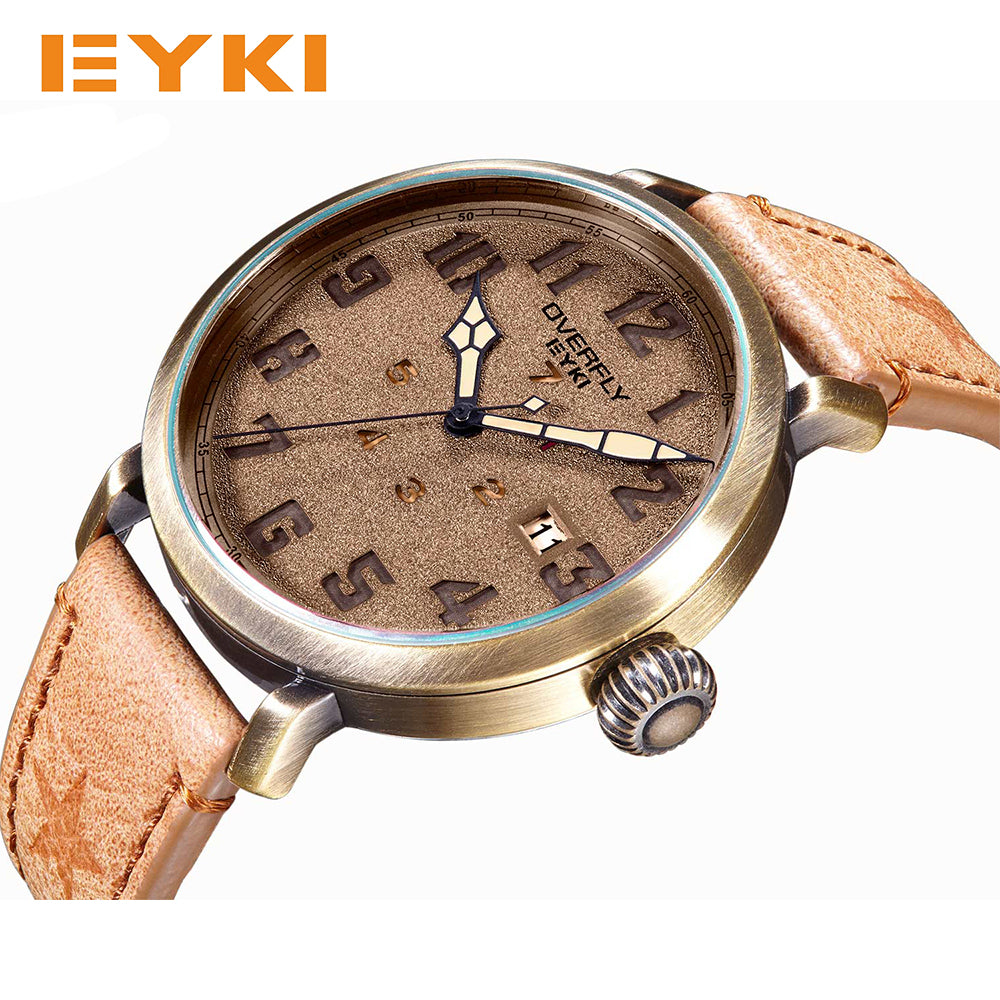 EYKI Retro Classic Antique Bronze Dial Exquisite Screw Crown Unique Week Design Luxury Watch Men Famous Brand Men's Watches Sale