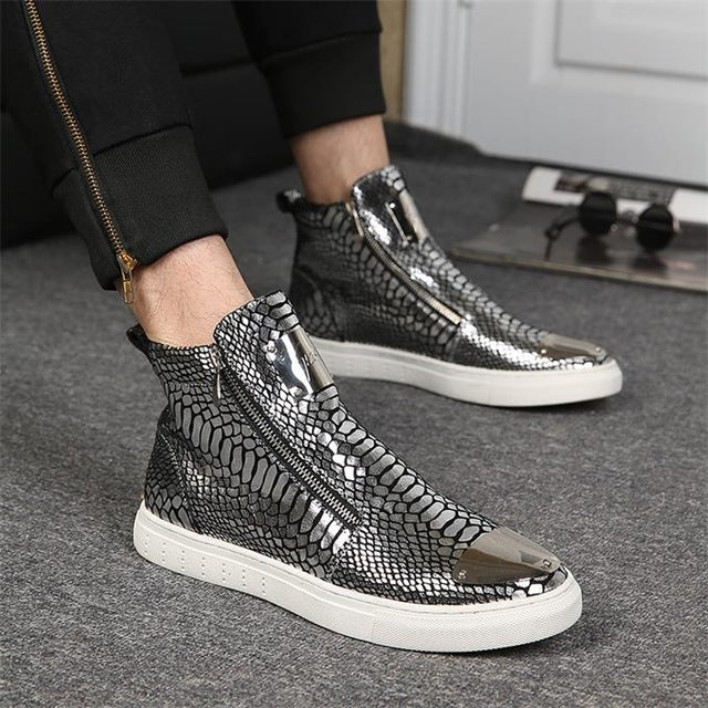 Europe and the United States  trends high shoes personality men's shoes plate shoes side zipper shoes - Zamavi.com