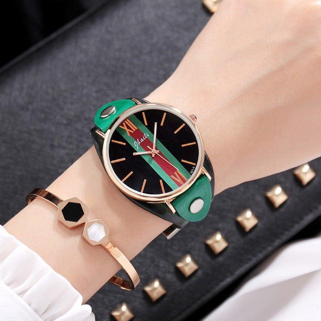 Geneva Fashion leather Women Watch Creative Quartz Ladies Clock Dress Hodinky Watch Bracelet WristWatches Gifts Relogio Feminino - Zamavi.com