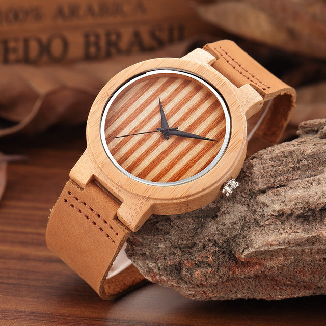 Fashion Brand Zebra Stripes Wooden Female and Male Quartz Watches No Water Resistant Leather Womens and Mens Wristwatch Horloge - Zamavi.com