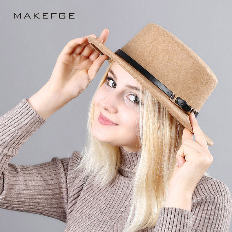 Spring 2018 New Fashion Flat Top Fedoras Vintage Hat For Women Autumn Imitation Wool Hat Belt Buckle Collocation Cloche Hat - Zamavi.com