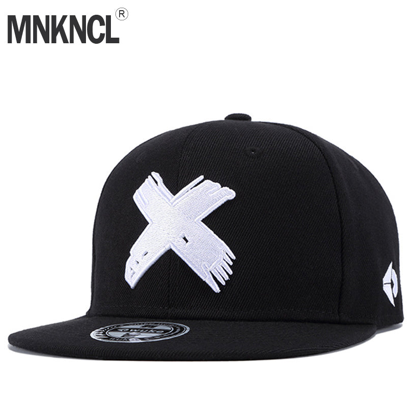 MNKNCL High Quality Unisex Cotton Snapback Cap 3D X Embroidery Mens Flat Brim Baseball Cap Fashion Hip Hop Hats - Zamavi.com