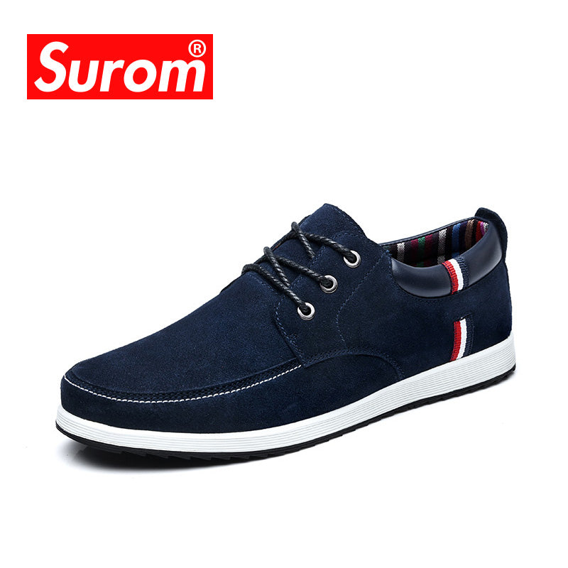 SUROM Men's Leather Casual Shoes Moccasins Men Loafers Luxury Brand Spring New Fashion Sneakers Male Boat Shoes Suede Krasovki - Zamavi.com