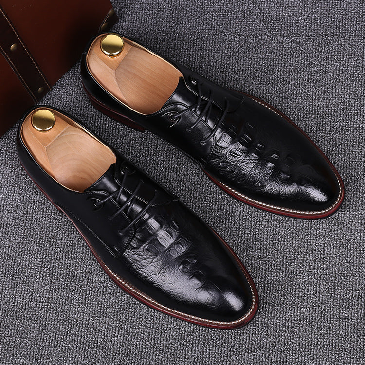 Crocodile Leather New Black Yellow Pointed Toe Business Casual Shoes Youth Men Groom Lace-Up Dress Wedding Shoes - Zamavi.com