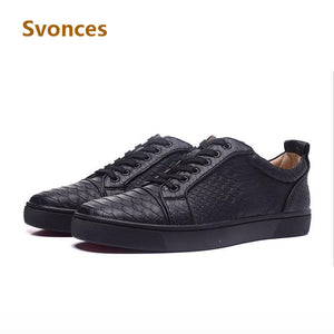 Fashion Round Toe Solid Serpentine Leather Mens Shoes Brand Casual Platform Flats Lace-up Luxury Designer Shoes Men Zapatillas - Zamavi.com