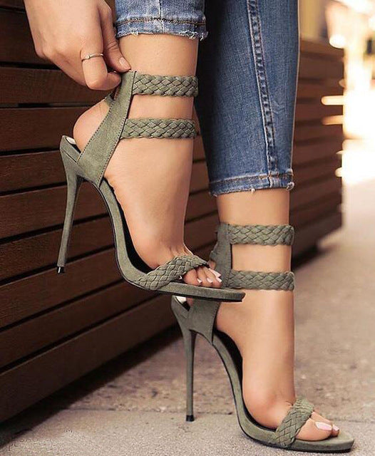 Drop Shipping 2017 Summer  Women Sexy Solid Army Green Stiletto Heel Open Toe Comfortable Party High Heel Dress Sandals - Zamavi.com