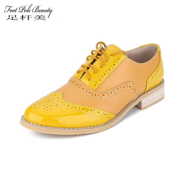 FOOT POLE BEAUTY Brand shoes Women High Quality Genuine Leather Casual Oxford Shoes Woman yellow patent leather shoes female - Zamavi.com