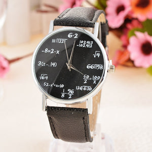 Doreen Box PU Leather Simple Luxury Quartz Wrist Watches Student Round Mathematical Formula Black Battery Included 24cm, 1 Piece - Zamavi.com
