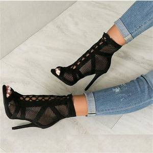 JINJOE New fashion show Black net Suede fabric Cross strap Sexy high heel sandals  woman shoes pumps lace-up peep Toe Sandals - Zamavi.com