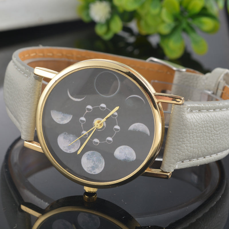 "Doreen Box PU Leather Quartz Wrist Watches Round Eclipse Lunar Eclipse Pattern Black Battery Included 24cm(9 4/8"") long, 1 Piece - Zamavi.com"