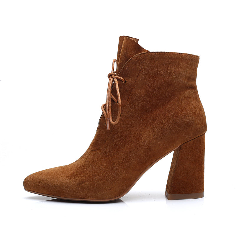 HEE GRAND Platform Winter Warm Women Ankle Boots Pointed Toe Shoes Women Lace Up Solid Faux Suede Ankle Boots Shoes XWX6760 - Zamavi.com