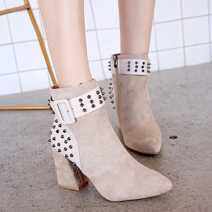YOUYEDIAN Fashion Martin Boots Women Rivet  Platform Shoes Party Ankle Boots High Heels ayakkabi sandalet bayan#a35