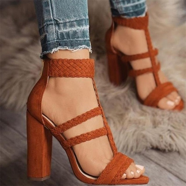 HiHopGirls Size 42 Gladiator High Heels Women Sandals Sexy Braided Foot Ring Ankle Strap Rome Open Toe Shoes Thick Block Heel - Zamavi.com
