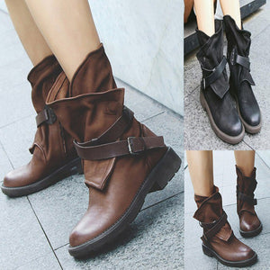 Fashion Medium Military Boots Women Buckle Artificial Leather Patchwork Shoes sapatos mulheres conforto#a35 - Zamavi.com