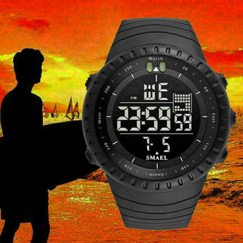 Military Men's LED Digital Black Sport Army Alarm Week Tactical Quartz Stopwatch Watch - Rewardeals
