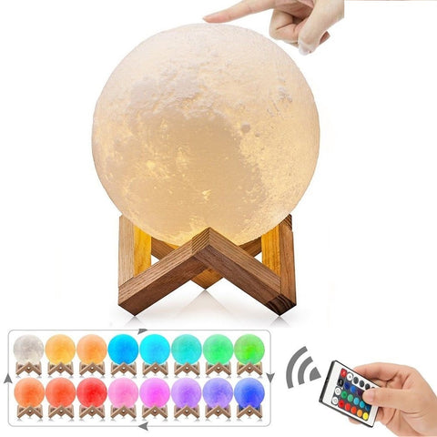 LAGGRA 3D Printing Color Changing LED Lunar Light Moon Night Lamp with Remote - Rewardeals