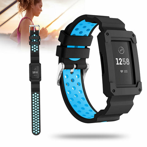 Replacement Silicone Watch Band with Bumper Case For Fitbit Charge 3 - Rewardeals