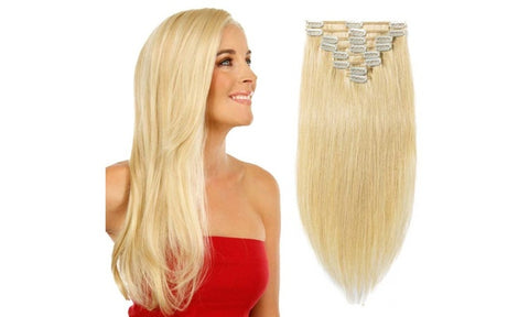 Real Human Hair Clip On Extensions - 22 inch (8 pcs) - Rewardeals