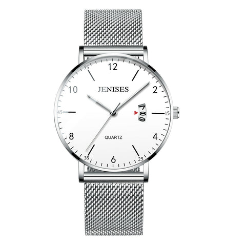 Men's Mesh Milanese Band Minimalist Ultra Thin Big Face Date Analog Watch - Rewardeals
