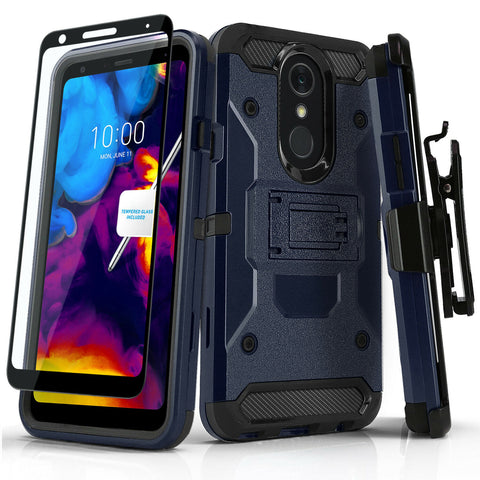 Tank Cover Phone Case with Holster and Tempered Glass for LG STYLO 5 / 4 / 4 PLUS - Rewardeals