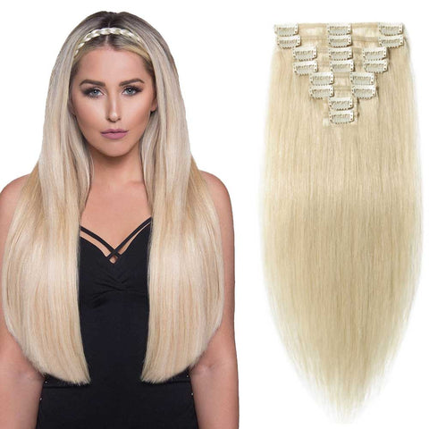 "LAGGRA Full Head Remy 22"" 100% Real Human Hair Clip On Extensions (8-Piece) - Rewardeals"