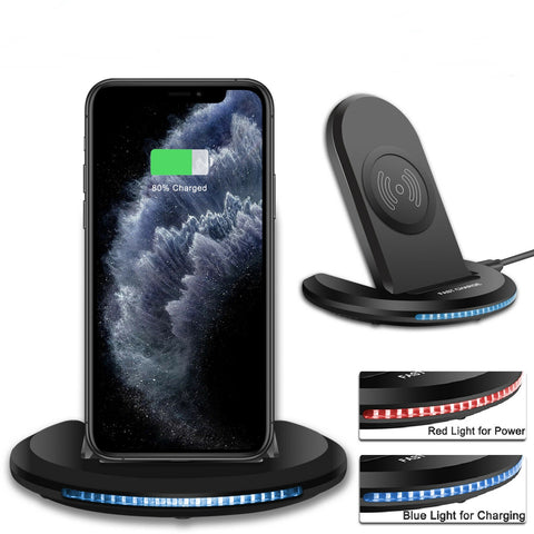 3 In1 LED Universal Qi Wireless Fast Charger Charging Station Stand for Apple Watch iPhone