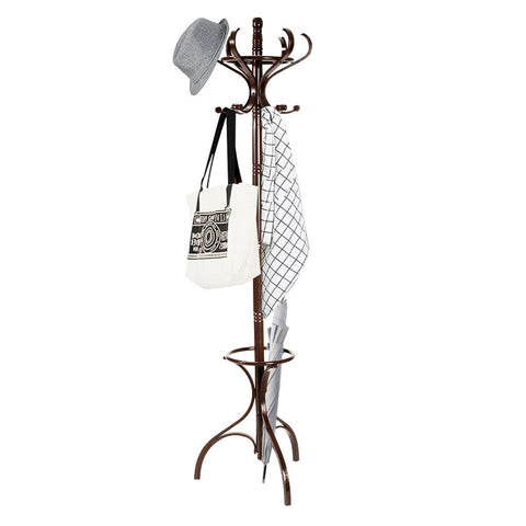 Wood Standing Clothes Coat Hat Rack Hanger Tree with Umbrella Stand - Rewardeals