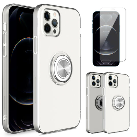 For iPhone 12 ProMaxMini11 Case Clear With Ring Holder Cover with Screen Protector