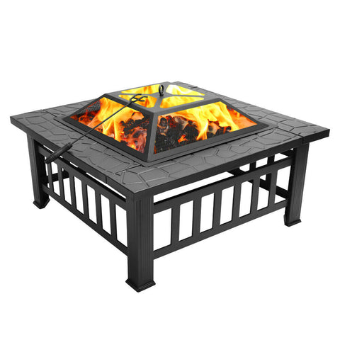 "32"" Square Metal Fire Pit Outdoor Patio Heater Fireplace - Rewardeals"