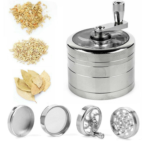 4 Piece Silver Herb Spice Grinder Crusher Hand Muller for Tobacco - Rewardeals