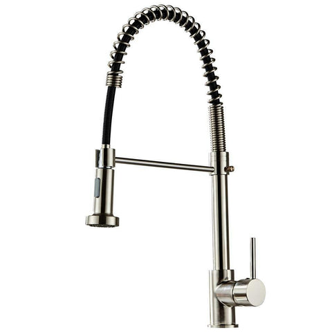 Brushed Finish Nylon Kitchen Sink Faucet Pull Down Sprayer Single Hole Bar Mixer