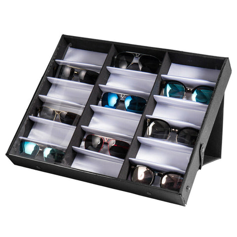 Luxury 18 Slot Sunglasses Glasses Storage Display Stand Case Box Holder - Rewardeals