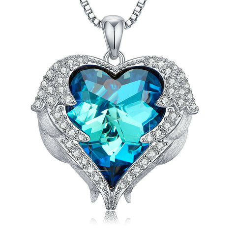Angel Wings Heart Pendant Necklace made with Blue Crystal - Rewardeals